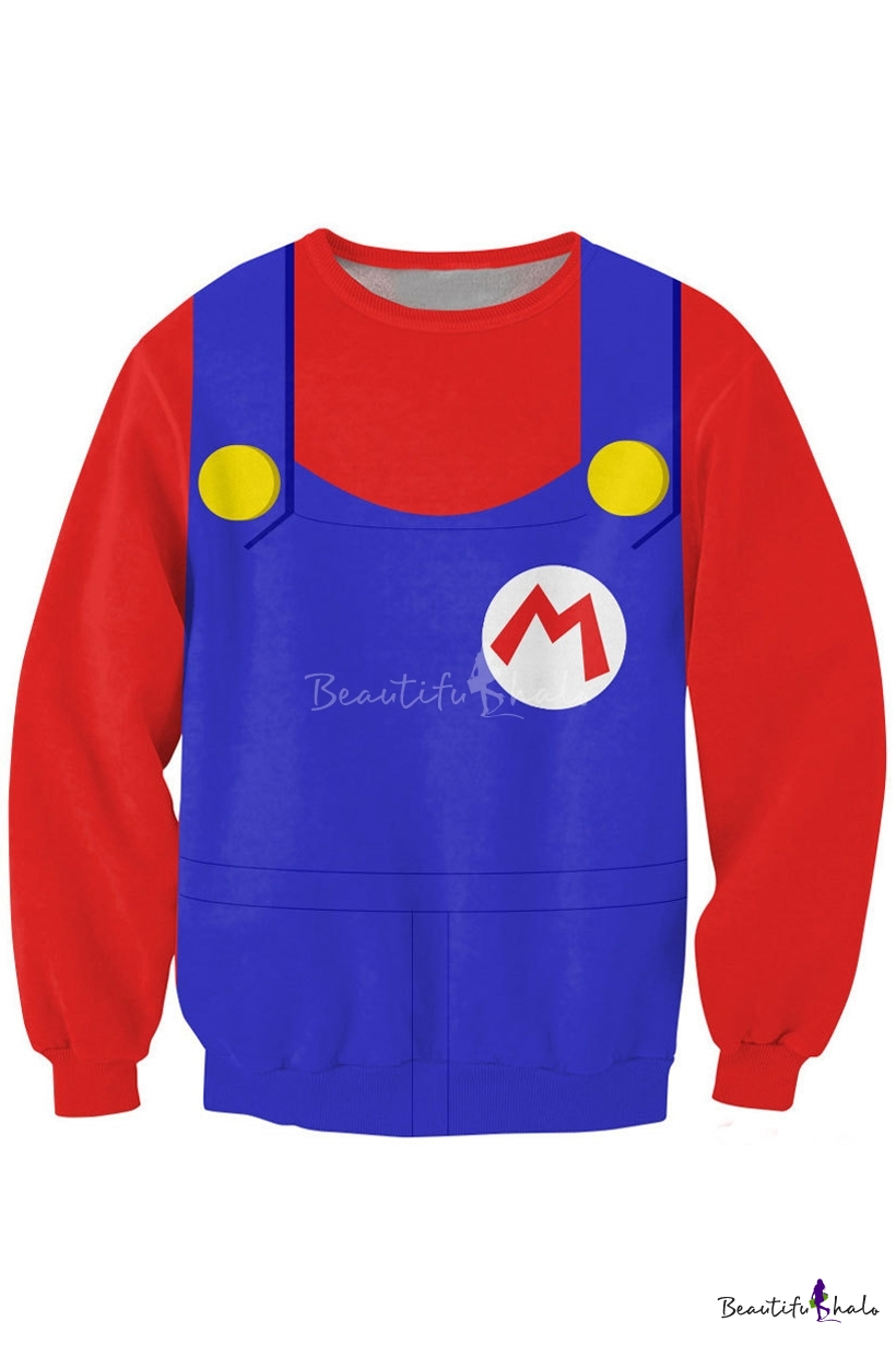 Super Mario Uniform Print Sweatshirt Beautifulhalo Com