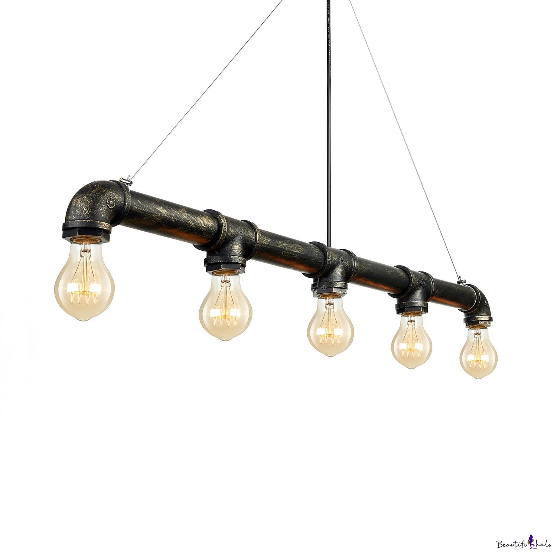 antique bronze five light pipe led suspension pendant. Black Bedroom Furniture Sets. Home Design Ideas