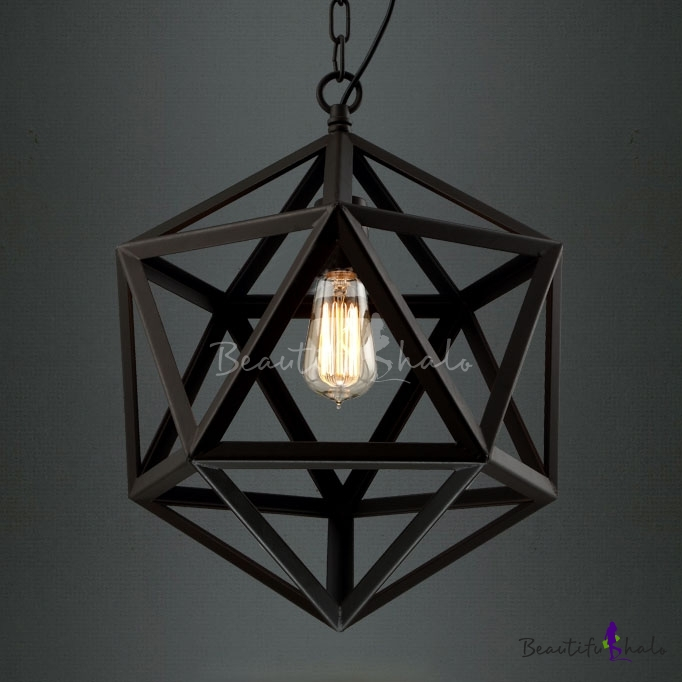 Star Of David Black Finished Cage Industrial Suspension Pendant Light    Beautifulhalo.com