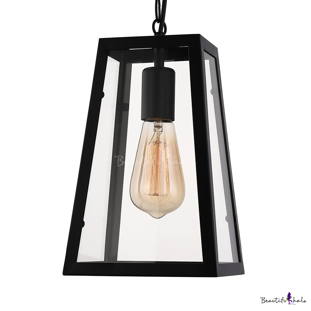 Matte Black 1 Light LED Pendant With Empire Clear Glass