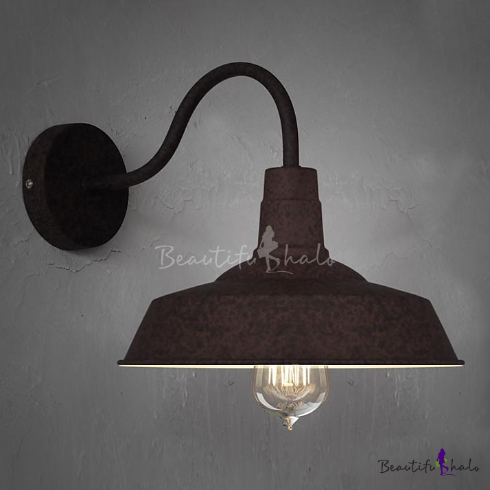 Mottled Rust Single Light Down Light Small Gooseneck Barn Wall Light - Beautifulhalo.com