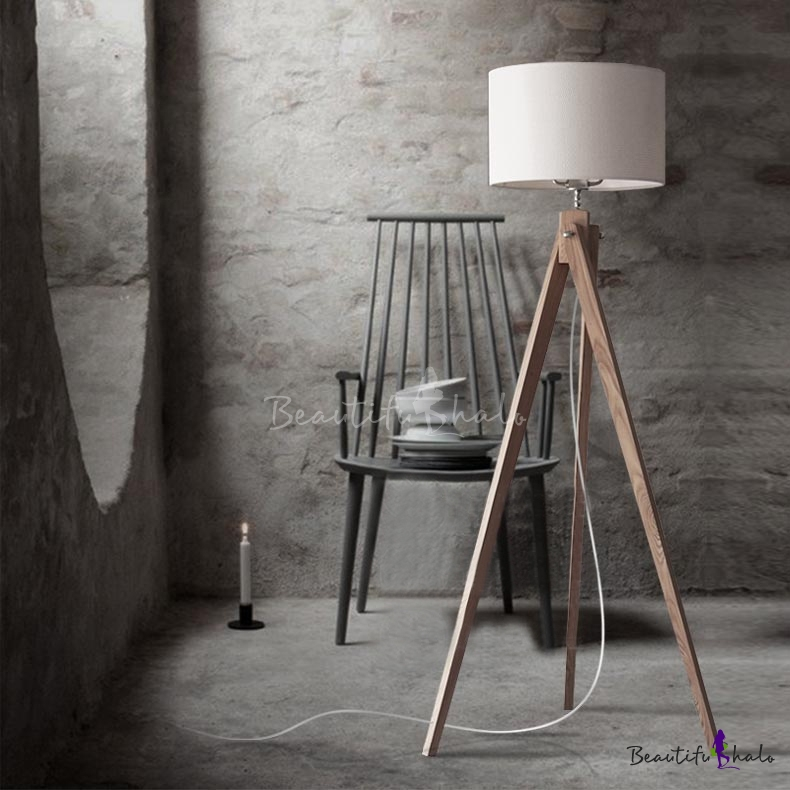 Attractive Linen Drum Shaded And Wood Tripod Designer Floor Lamp 59u201dHigh    Beautifulhalo.com