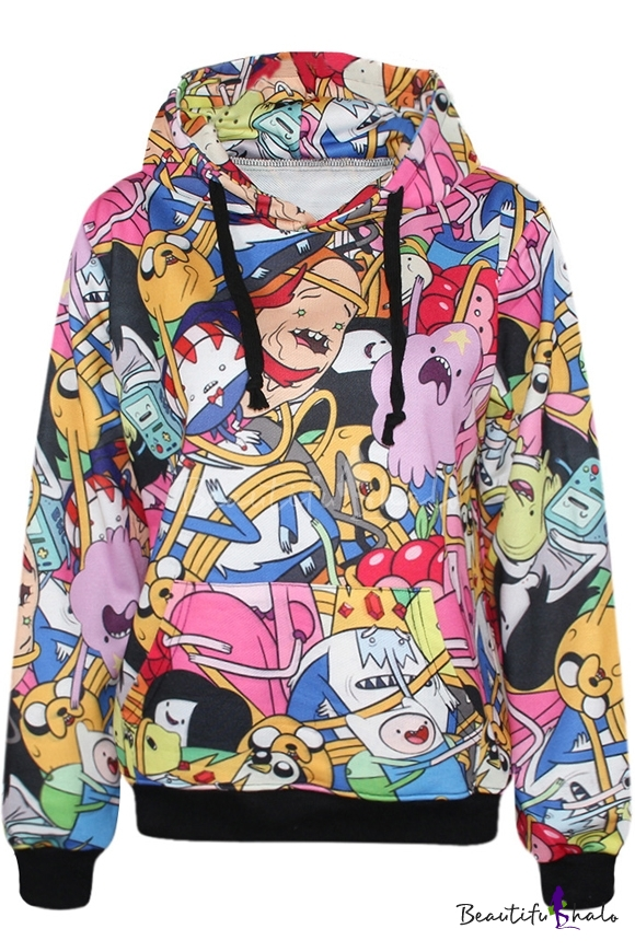 Colorful Adventure Time Print Hoodie With Pocket Front