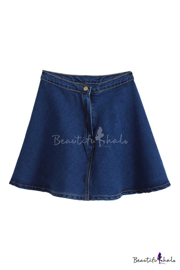 Concise Plain A-line Denim Skirt - Beautifulhalo.com