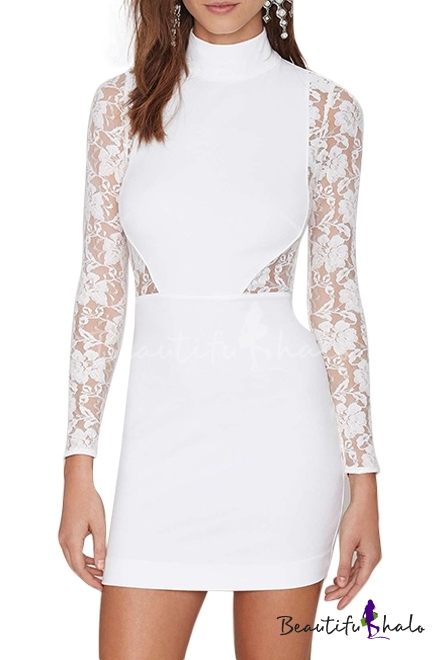 50662fa93bc2f Sexy Lace Panel Top Keyhole Back High Neck White Bodycon Dress -  Beautifulhalo.com