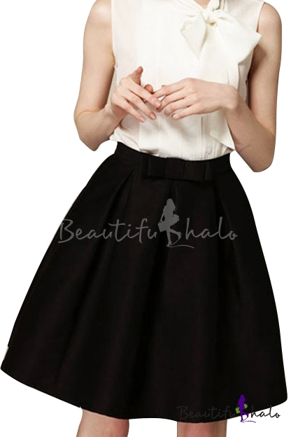 Black Bow Tie High Waist Midi A-line Skirt - Beautifulhalo.com