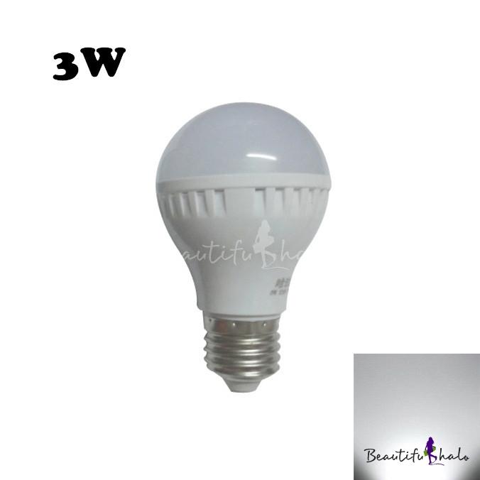 Buy White PC E27 3W LED Globe Bulb 240lm 6000K