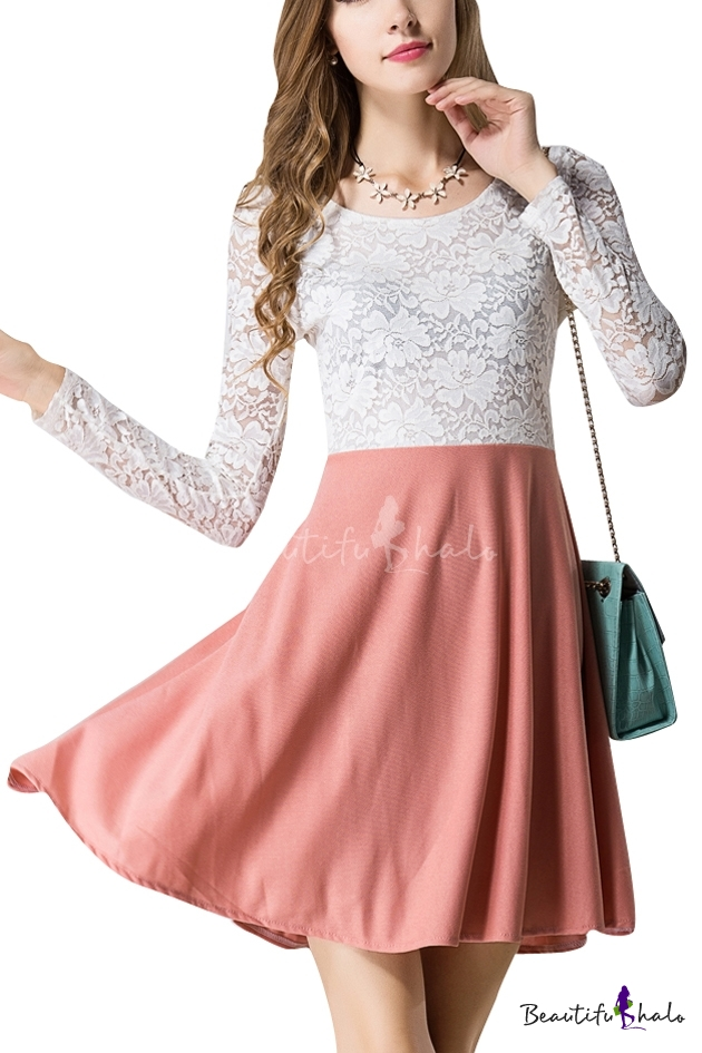 White lace top and pink skirt long sleeve dress for The best white dress shirt