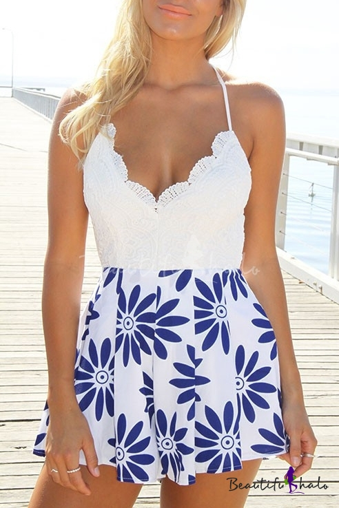Buy Lace Sexy V-Neck Top Blue Flora Print Rompers