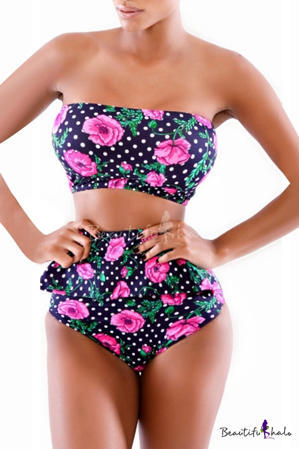 bandeau polka dot floral print high waist bikini set   beautifulhalo