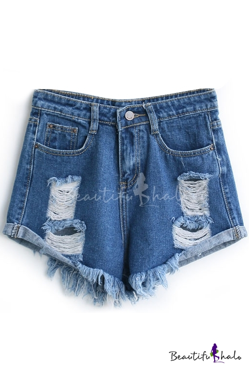 2aa8d36ef63 Dark Blue Loose Ripped Cuffed Denim Shorts - Beautifulhalo.com