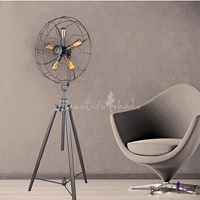 Floor Fans With Light : Five light industrial whimsical iron fan large led floor
