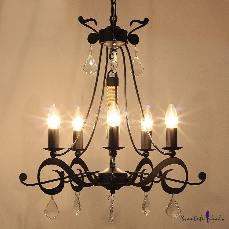 Retro wrought iron crystal accented black chandelier beautifulhalo aloadofball Gallery