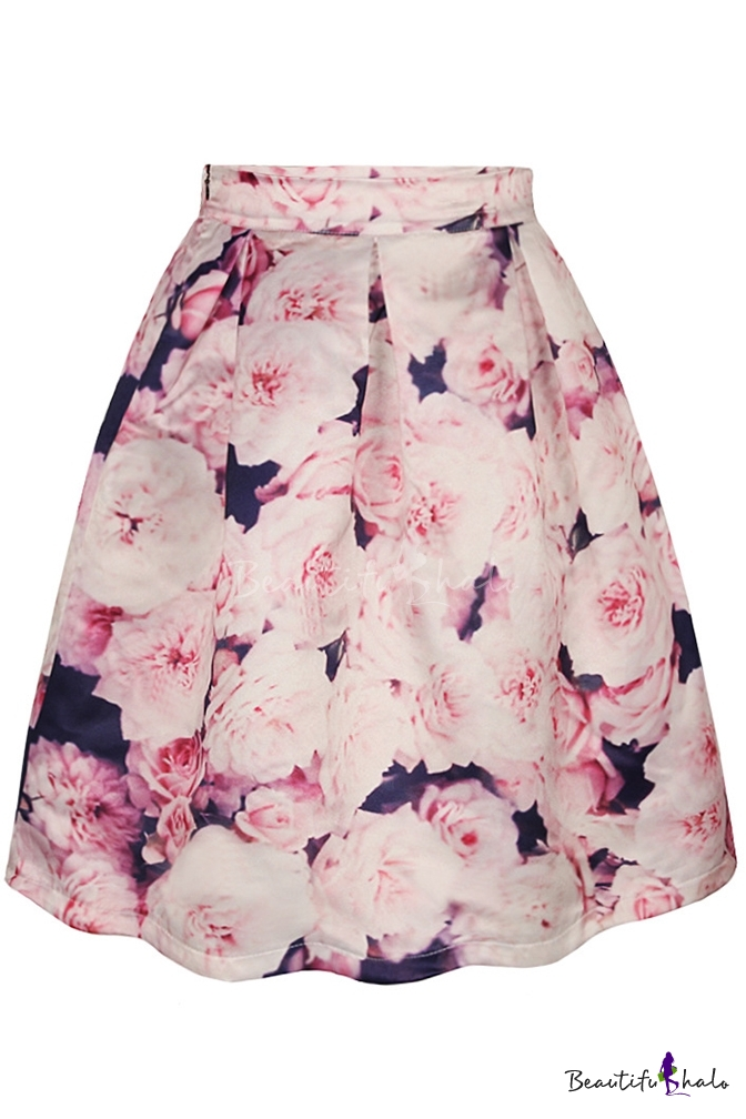 Pink Floral Print Tie Dye A-Line Midi Skirt - Beautifulhalo.com