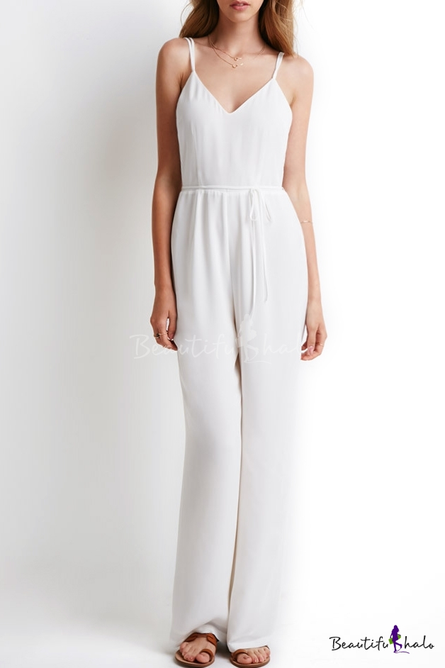 0d2ff6ca17d White Spaghetti Strap Drawstring Waist Jumpsuit - Beautifulhalo.com