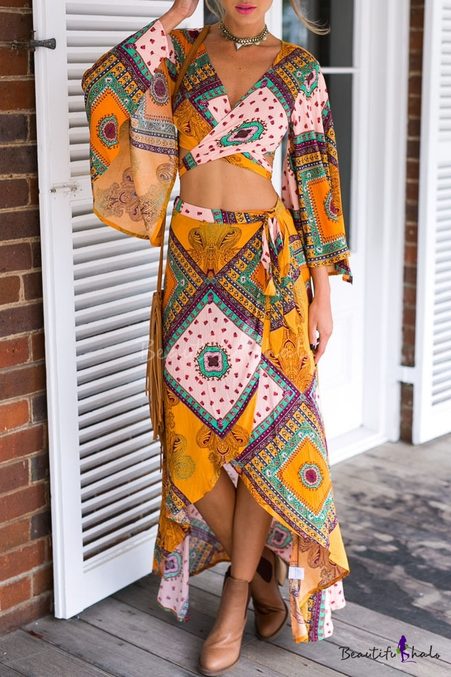 V Neck Flared Sleeve Wrap Front Short Top With High Low Maxi Skirt Beautifulhalo Com