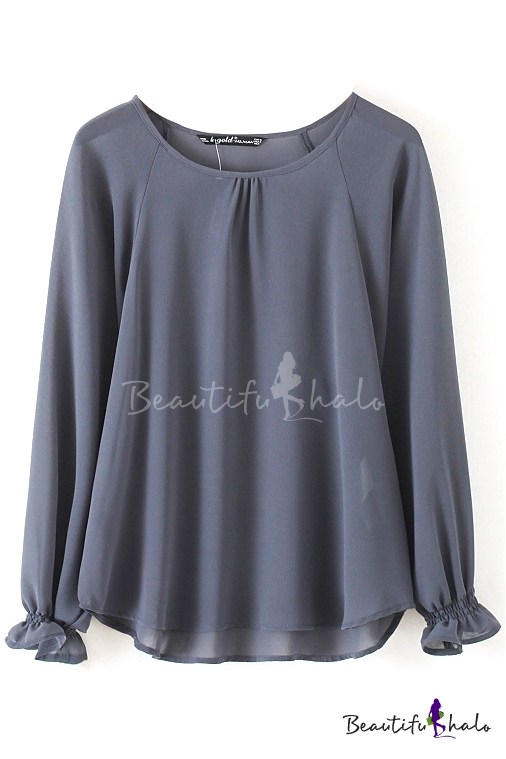 gray round neck long sleeve elastic cuff high low chiffon shirt