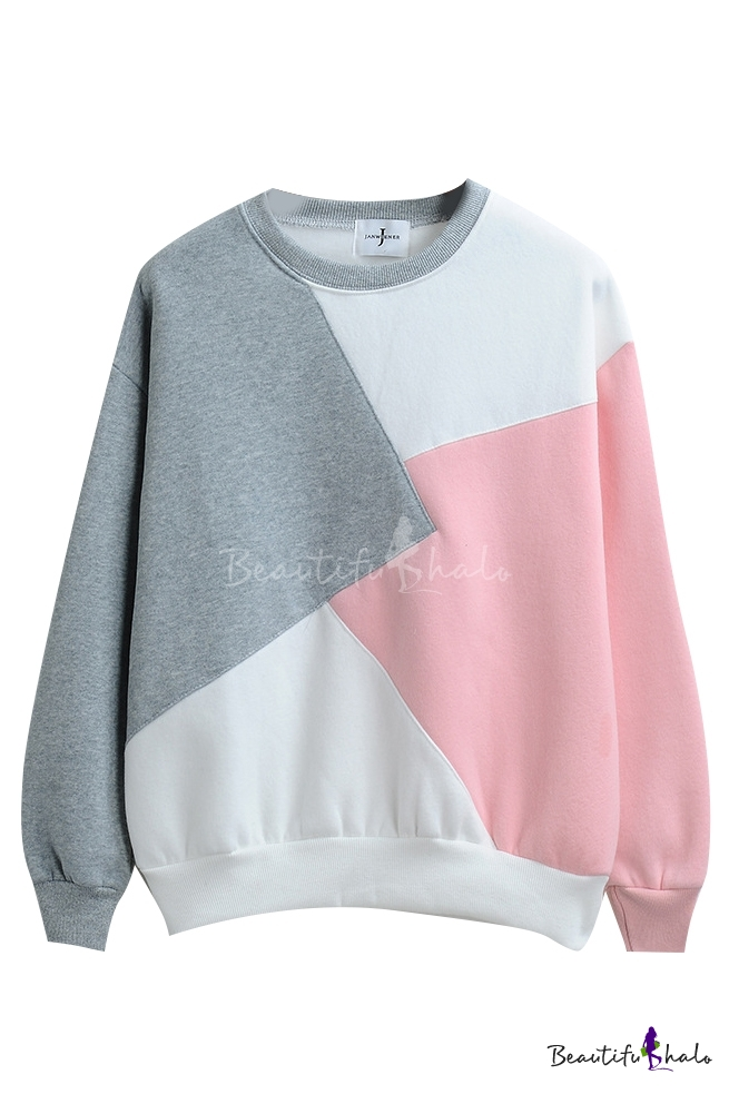 5a1d290f683a Round Neck Color Block Patchwork Long Sleeve Sweatshirt - Beautifulhalo.com
