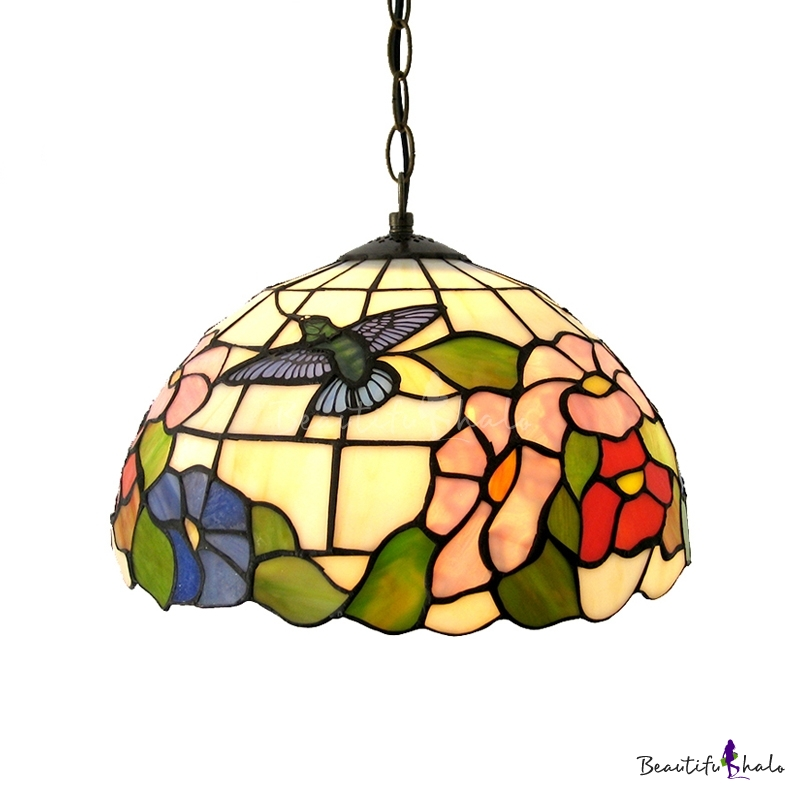Country Style 12 Inch Wide Tiffany Hanging Pendant Ceiling Light With Mini Bi