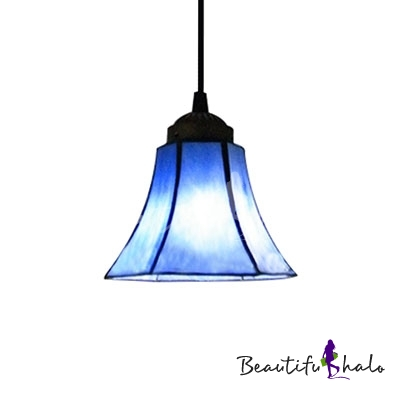 All Blue Stained Glass Bell Shade Tiffany One Light Mini Pendant Lighting B