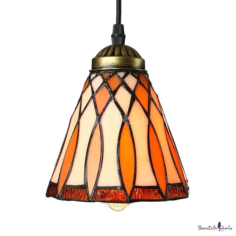 5 Inch Bell Shade Stained Glass Tiffany One Light Mini Pendant Lighting Bea