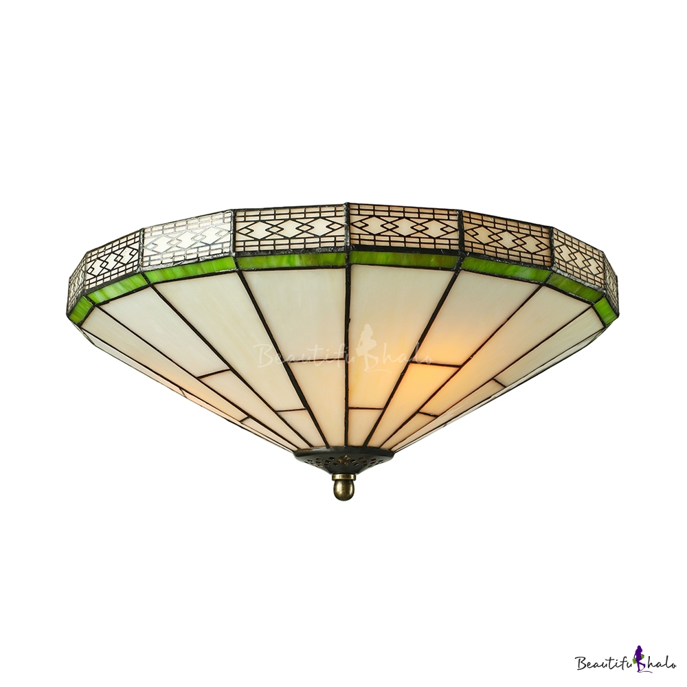 Green Mission Pattern 16 Inch Flush Mount Ceiling Light In