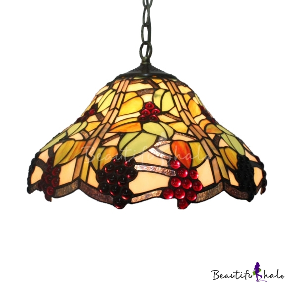 16 Inch Wide Country Style Grape Motif One Light Tiffany Hanging Pendant Ligh