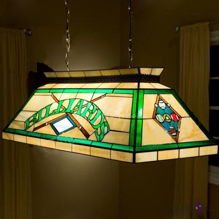 Billard Pool Table Lamp Stained Glass Tiffany 2-light