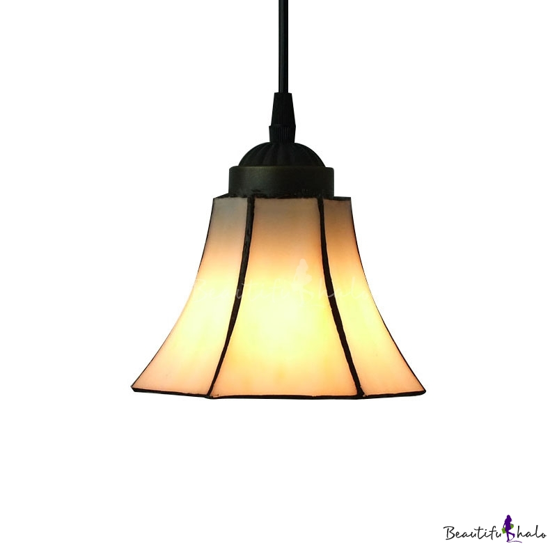 White Bell Shade Stained Glass Tiffany One Light Mini Pendant Lighting Beau