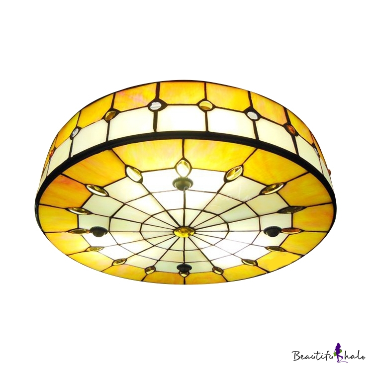 Ceiling Mounted Lights Nz : Round shade inch yellow stained glass tiffany light