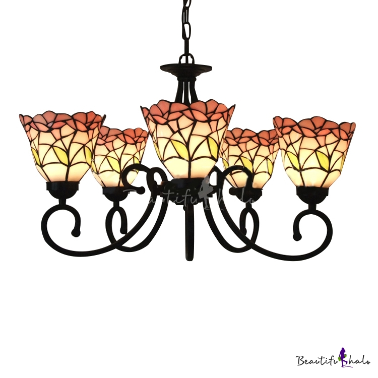 Five Light Nature Inspired 24 Inch Pink Stained Glass Tiffany Chandelier Ceil