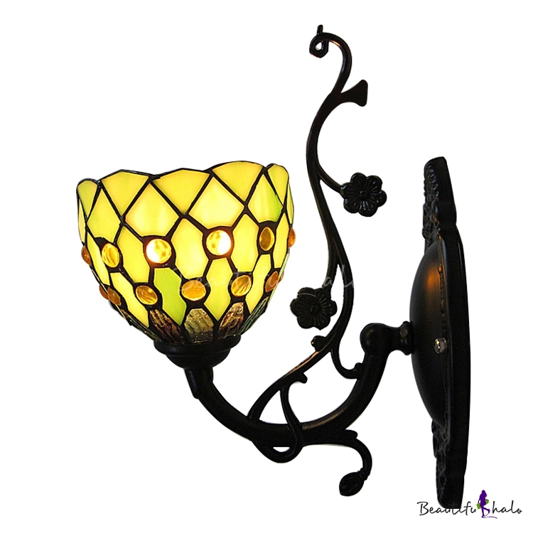 Buy 5 Inch Mini Wall Sconce Tiffany Green Stained Glass Style