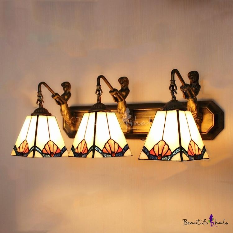 timeless design 12592 b10e6 Tiffany Stained Glass Style Mermaid 24 Inch Bathroom Vanity Lighting