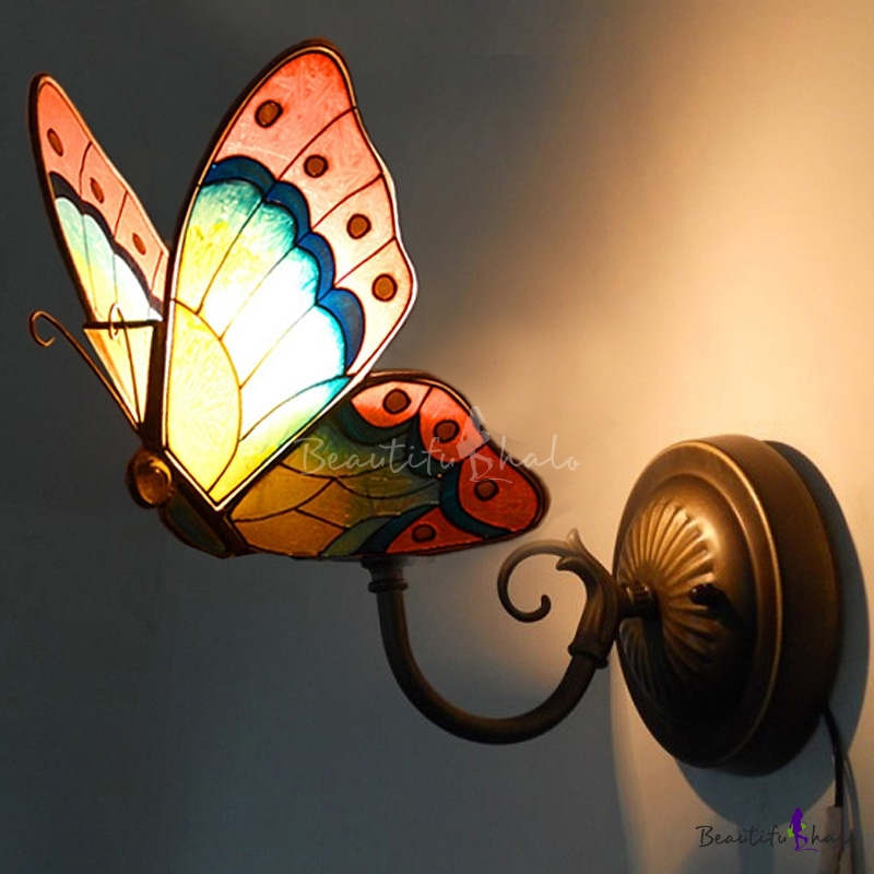 Small Tiffany Wall Sconces: Tiffany Stained Glass Style Butterfly Shape Wall Sconce 6
