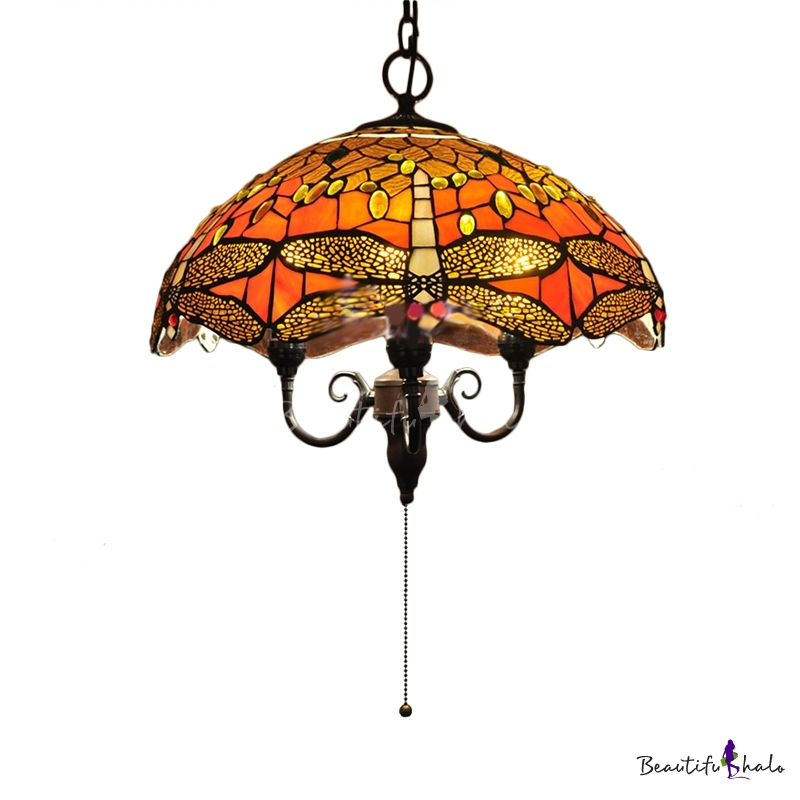 With Pull Chain Country Style 15 7 Inch Wide Tiffany Pendant Light With Drago