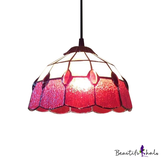 Buy Red Stained Glass 8 Inch Tiffany One-light Kitchen Hanging Mini Pendant Light