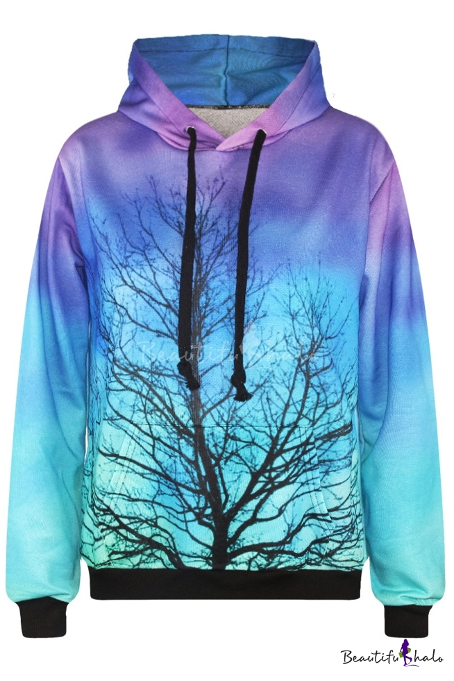 hooded ombre tree print long sleeve sweatshirt