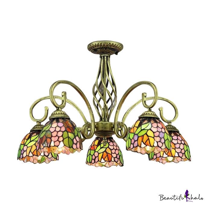 24 Inch Wide Grape Motif Five Light Tiffany Chandelier Ceiling Light Beauti