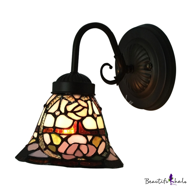 Tiffany Glass Wall Lights : Downward Lighting Stained Glass Tiffany One-light Wall Sconce - Beautifulhalo.com