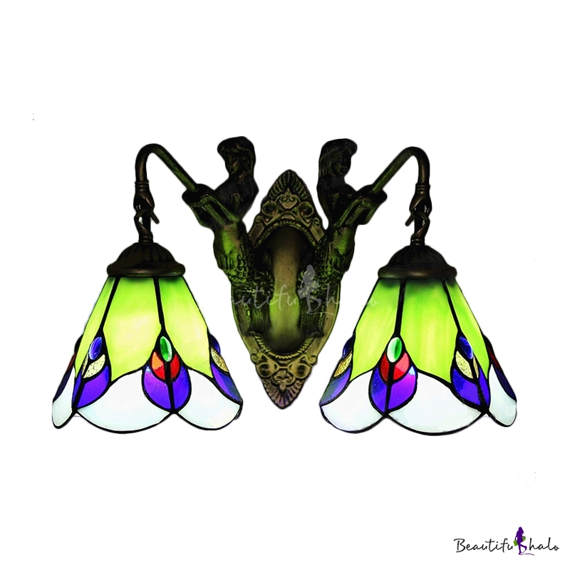 Tiffany Style Two Lights Mermaid Ladybug Wall Lamp for Bathroom ...