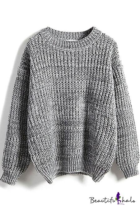 Round Neck Plain Long Sleeve Chunky Knit Sweater