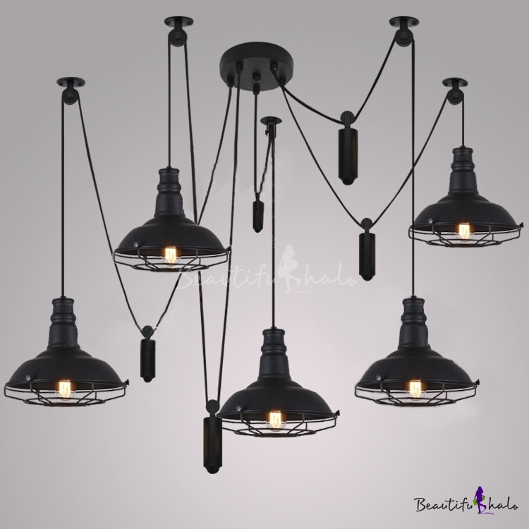 Five Light Swag Led Multi Light Pendant In Black Beautifulhalo Com