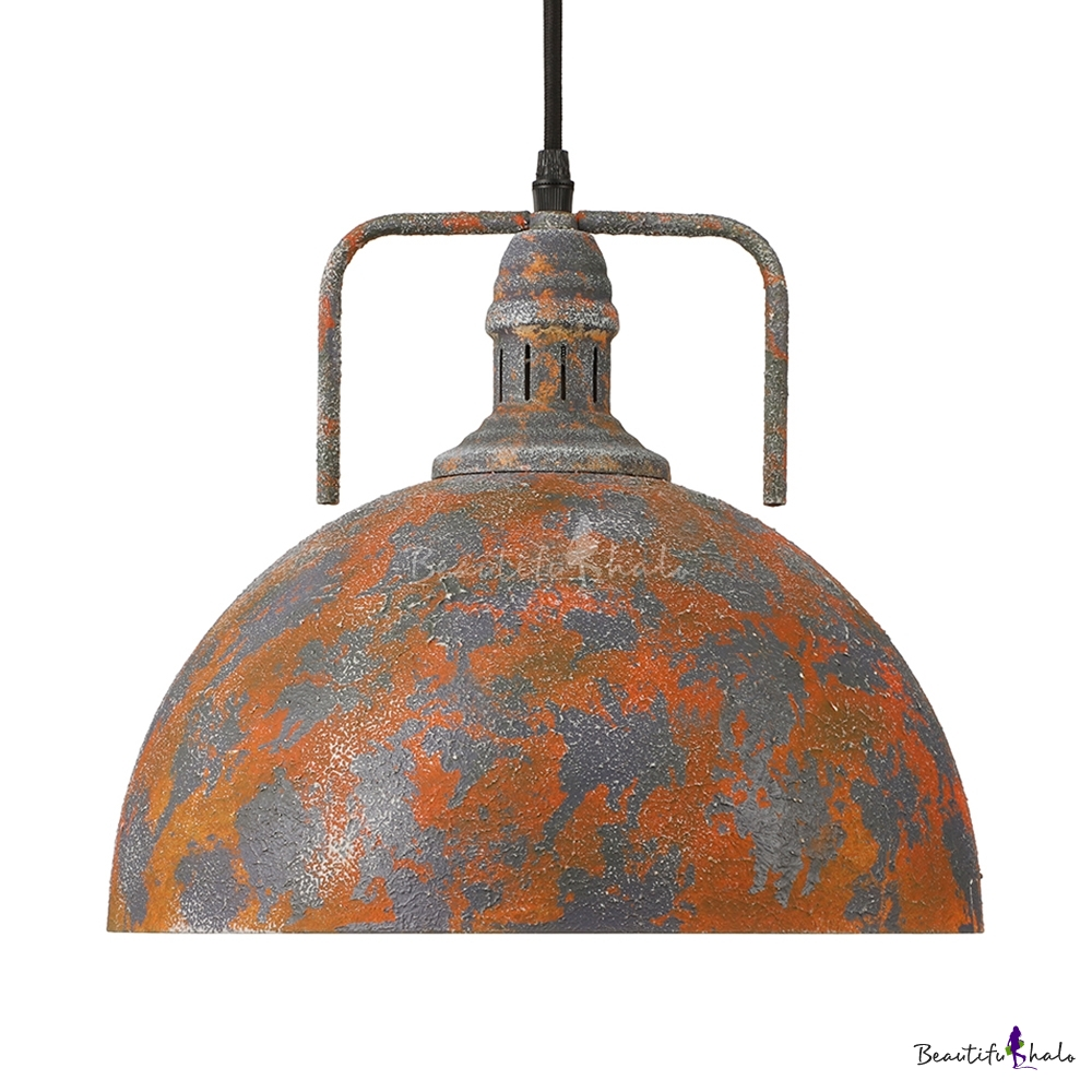 Vigorous Orange Finish 1 Light LED Pendant In Industrial