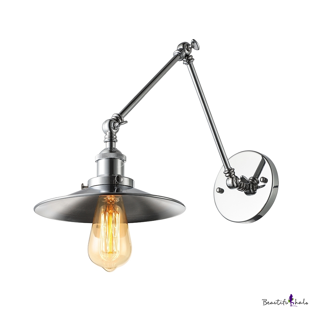 Industrial Wall Light Chrome: Industrial Style 1 Light 8'' Wide Adjustable LED Wall