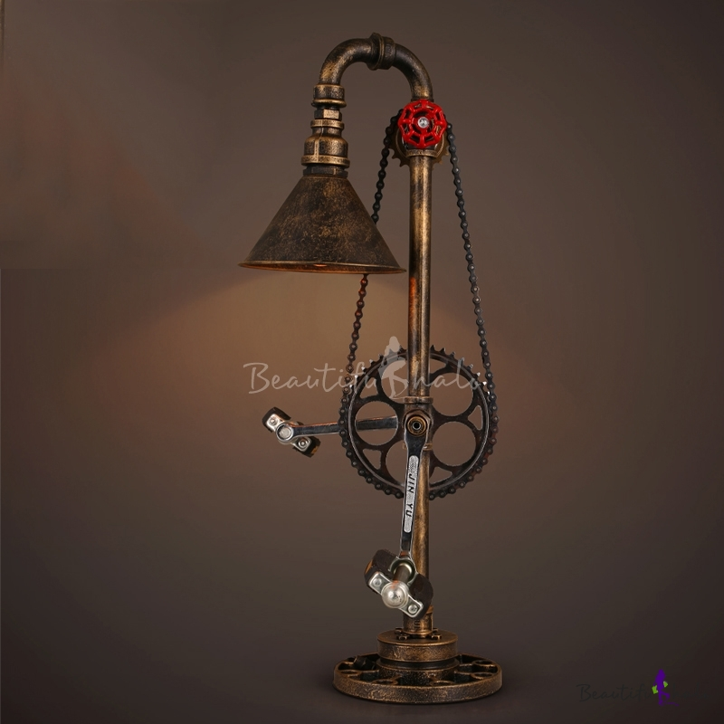 Mottled Bronze 1 Light Cone Accent LED Table Lamp With Bicycle Design    Beautifulhalo.com