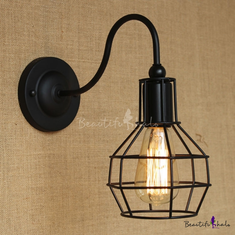 Black 1 Light LED Wall Sconce with Cage Shade - Beautifulhalo.com
