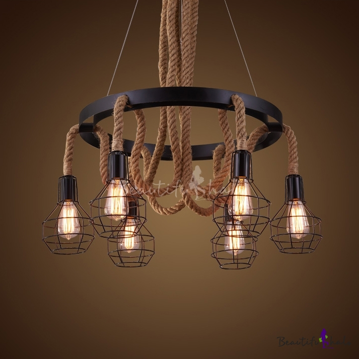 industrial 6 light wire cage rope chandelier with 30