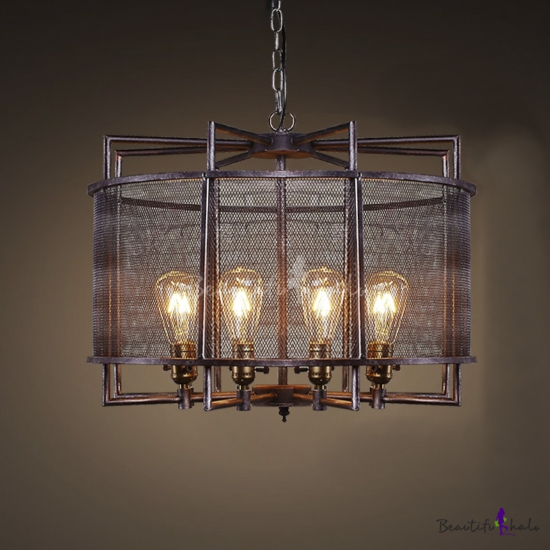 Buy Dark Bronze 8 Light Wrought Iron Drum Pendant
