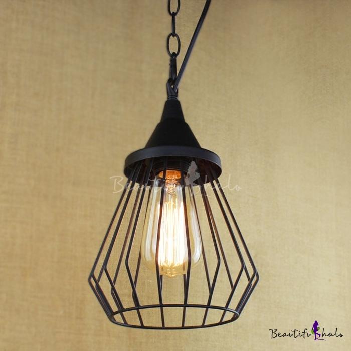 Bird Cage Single Mini Pendant Light In Black Industrial