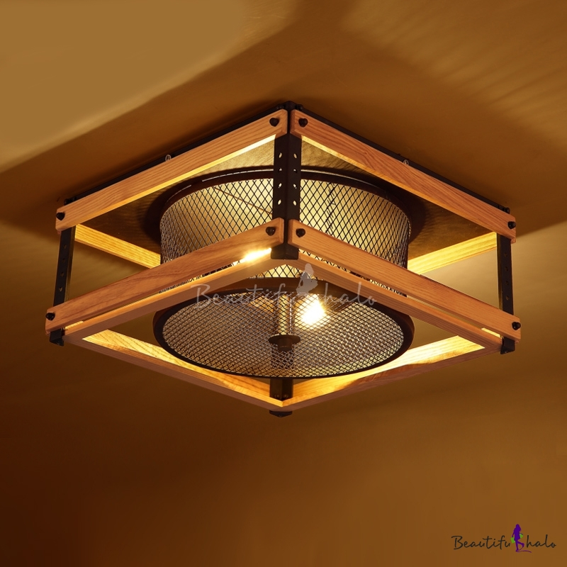 Fashion style flush mount ceiling lights industrial lighting 15 inches wide industrial led flush mount ceiling light with wood accents aloadofball Image collections